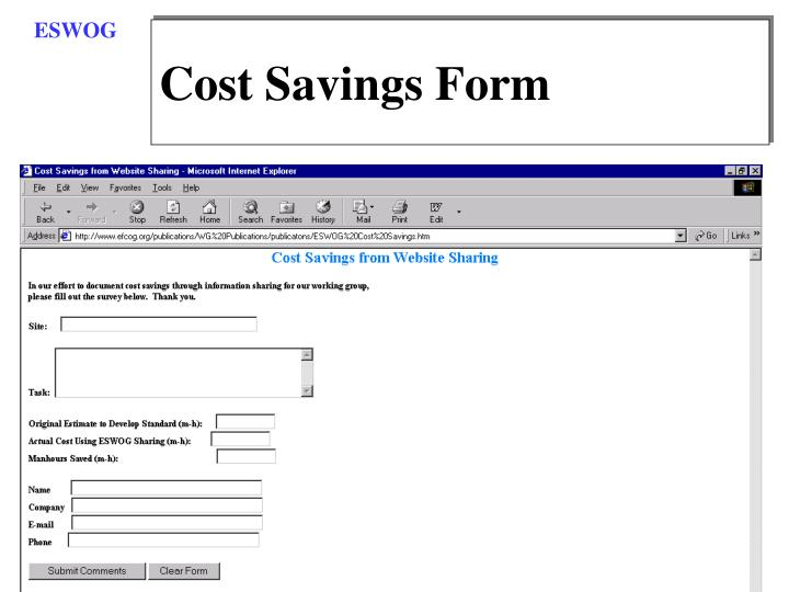 Cost Savings Form