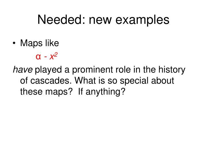 Needed: new examples