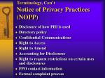 terminology con t notice of privacy practices nopp