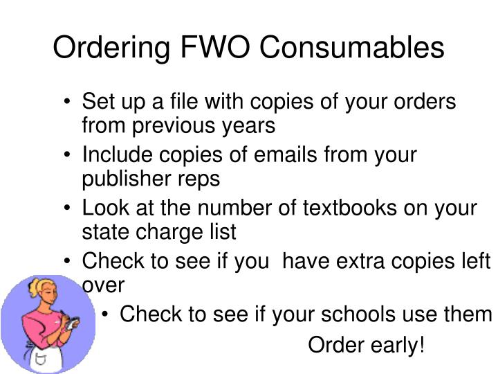 Ordering FWO Consumables