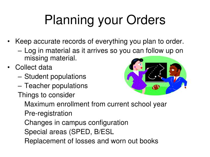 Planning your Orders