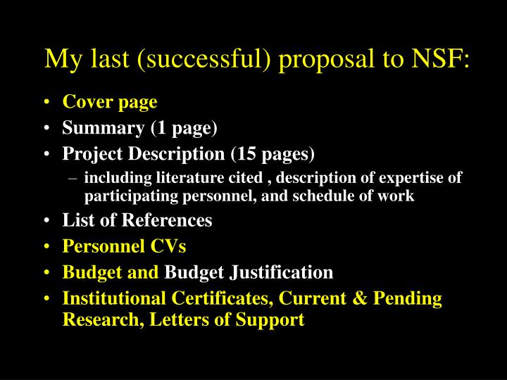 My last (successful) proposal to NSF: