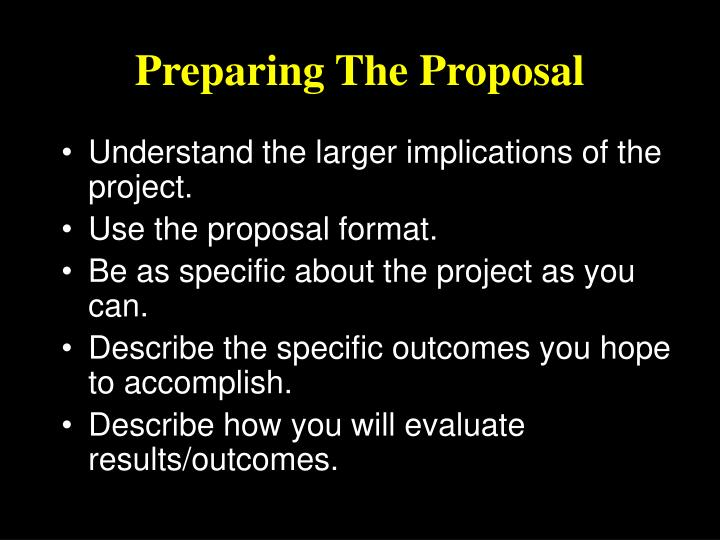 Preparing The Proposal