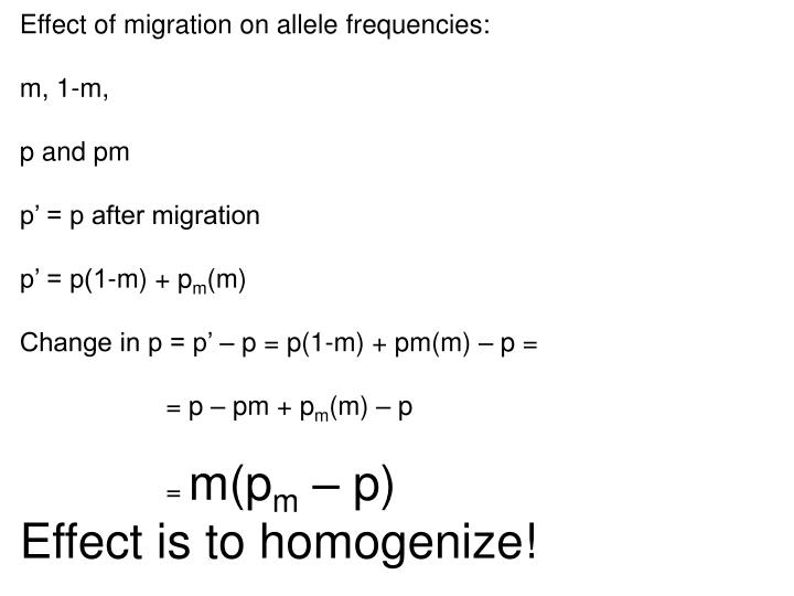 Effect of migration on allele frequencies: