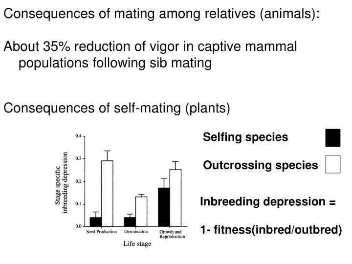 Consequences of mating among relatives (animals):