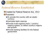 federal reserve established