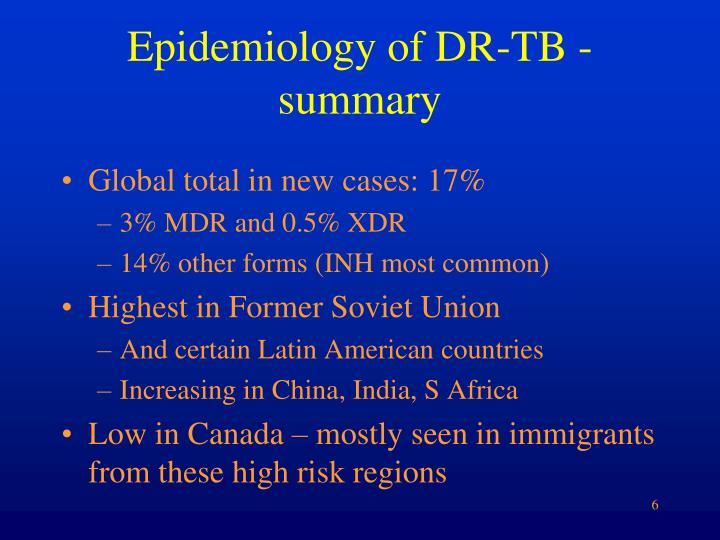 Epidemiology of dr tb summary