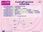 fundingprogramme cerif2006
