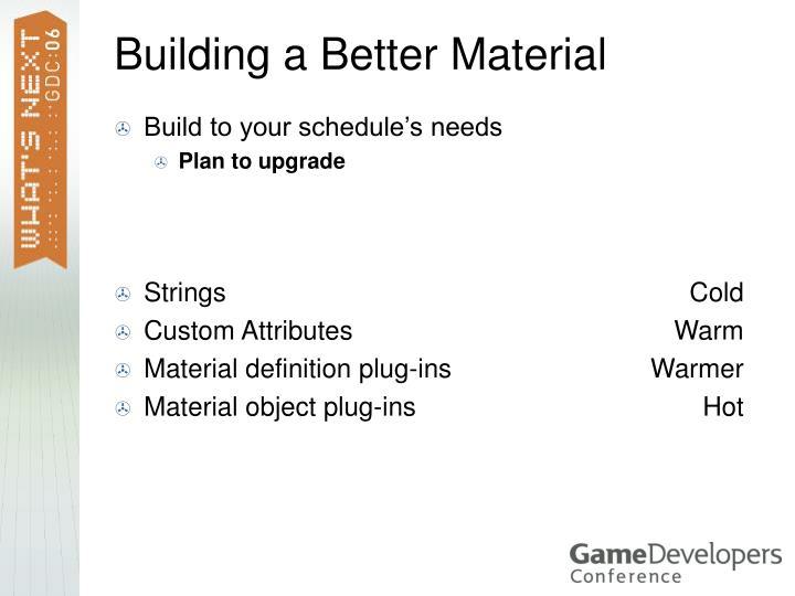Build to your schedule's needs