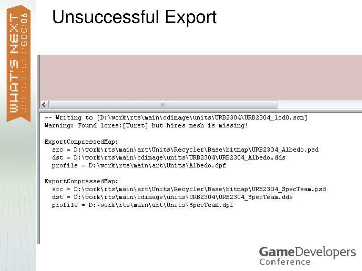 Unsuccessful Export
