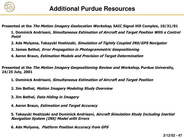 Additional Purdue Resources