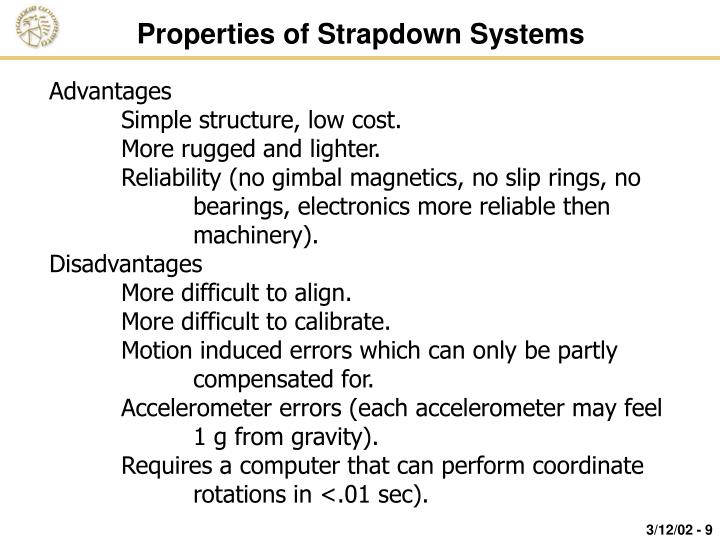 Properties of Strapdown Systems