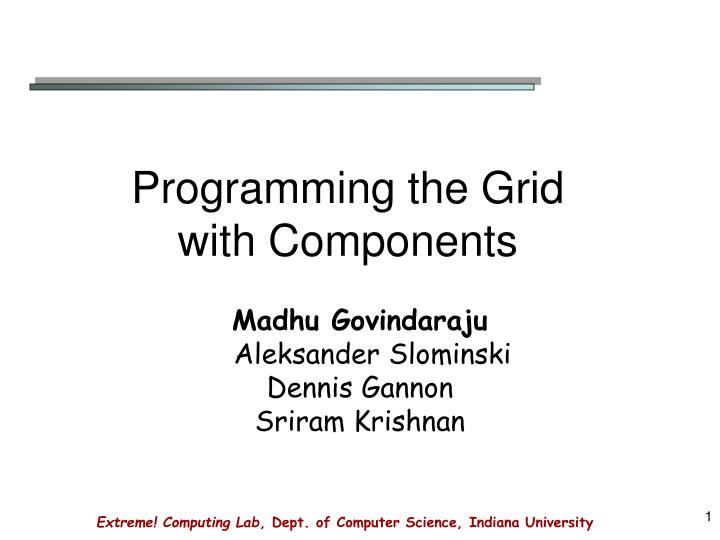 programming the grid with components n.