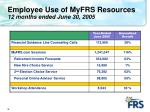 employee use of myfrs resources 12 months ended june 30 2005