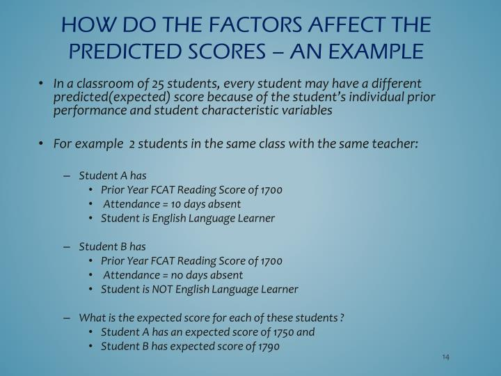 How do the factors affect the predicted scores – an example