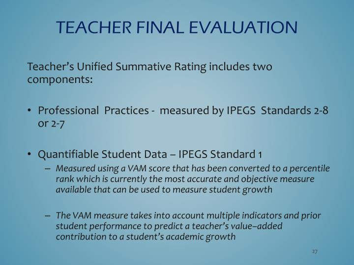 Teacher FINAL EVALUATION