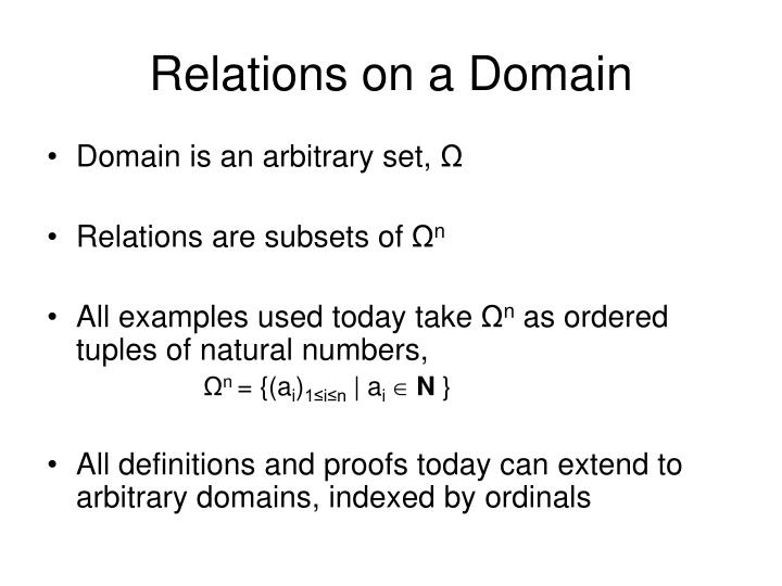 Relations on a domain