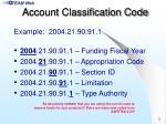 account classification code