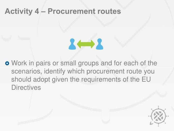 Activity 4 – Procurement routes