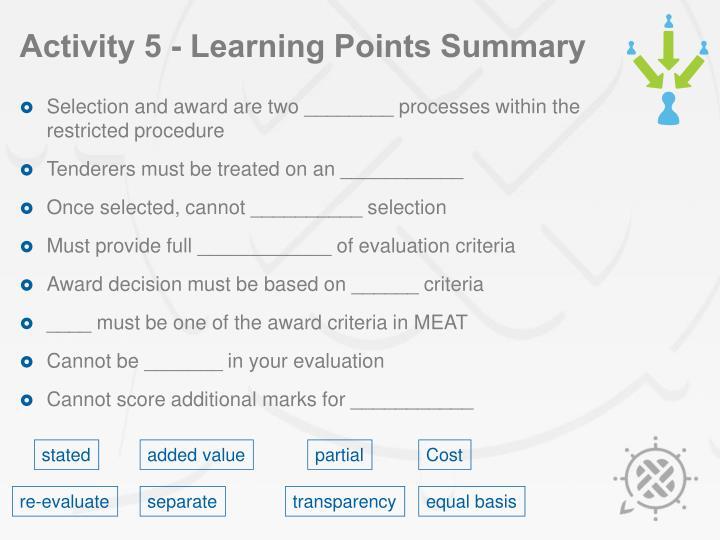 Activity 5 - Learning Points Summary