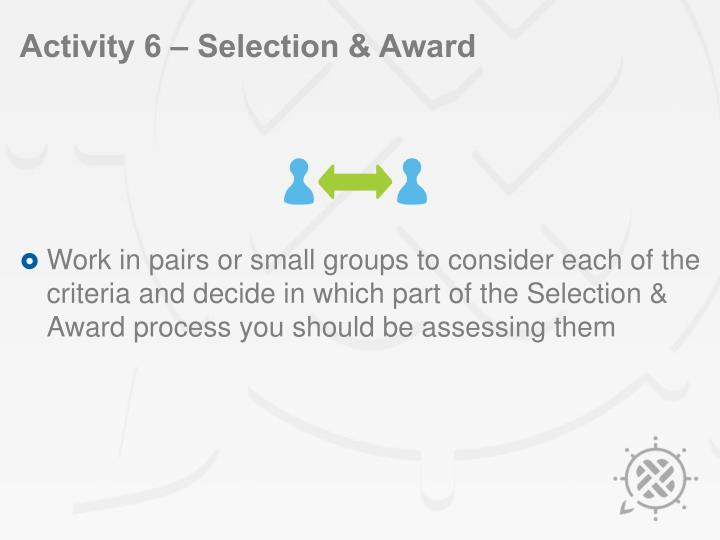 Activity 6 – Selection & Award