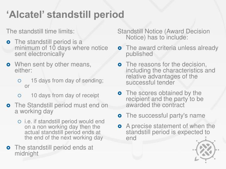 Thestandstill time limits: