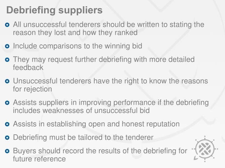 Debriefing suppliers