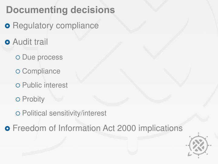 Documenting decisions