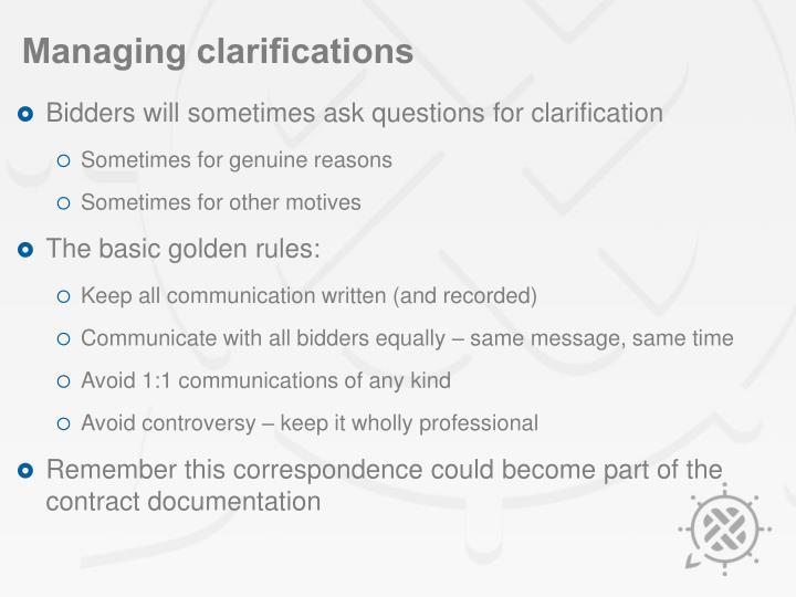 Managing clarifications