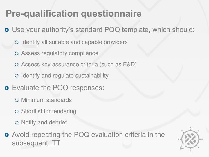 Pre-qualification questionnaire