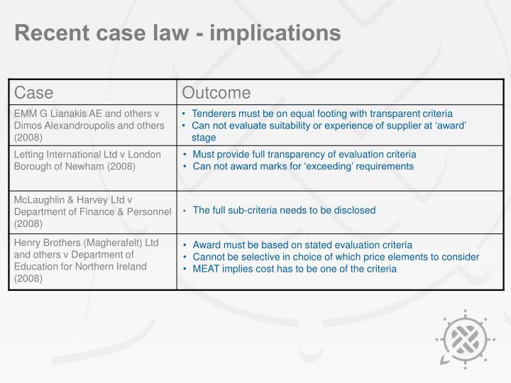 Recent case law - implications