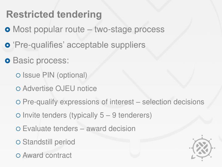 Restricted tendering