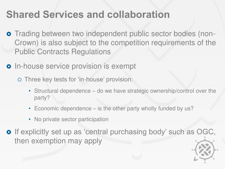 Shared Services and collaboration