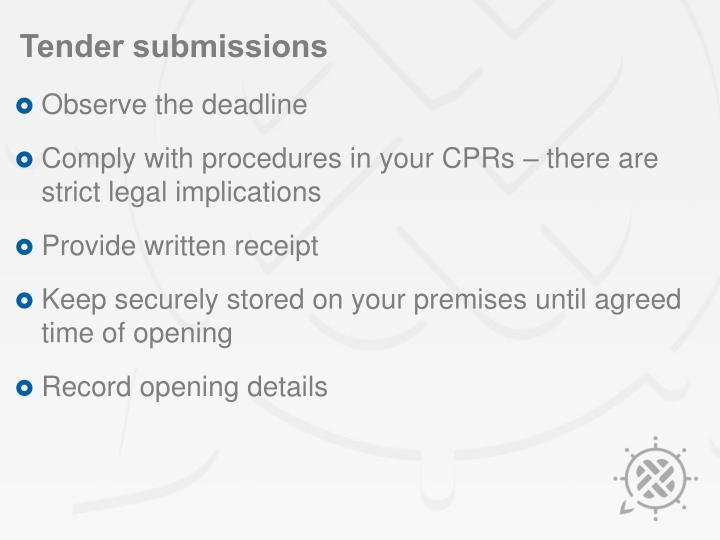 Tender submissions
