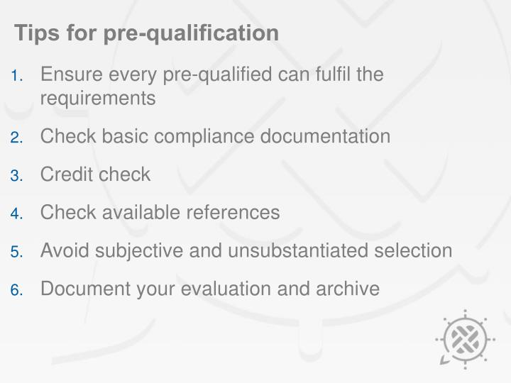 Tips for pre-qualification