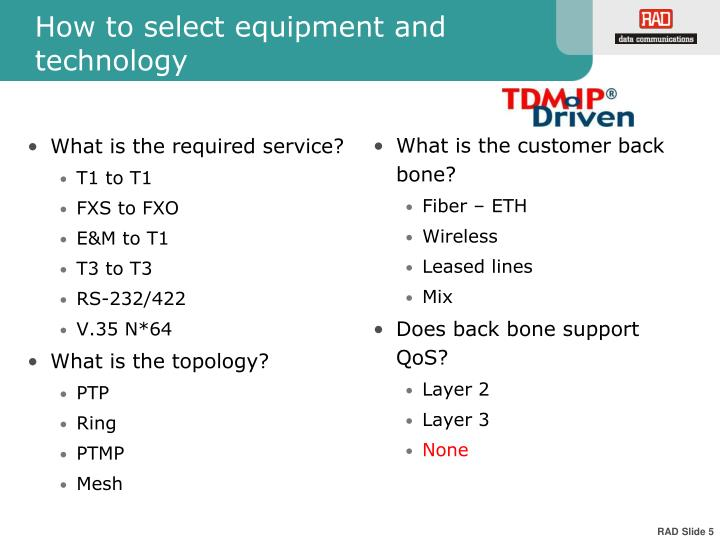 How to select equipment and technology