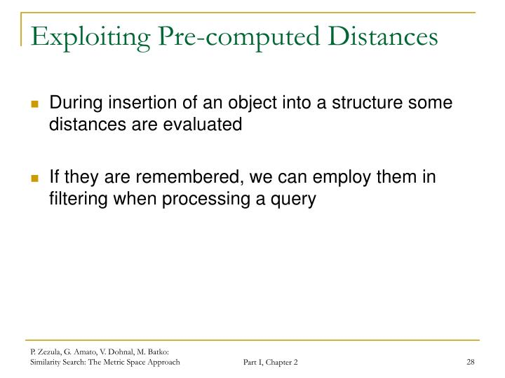 Exploiting Pre-computed Distances