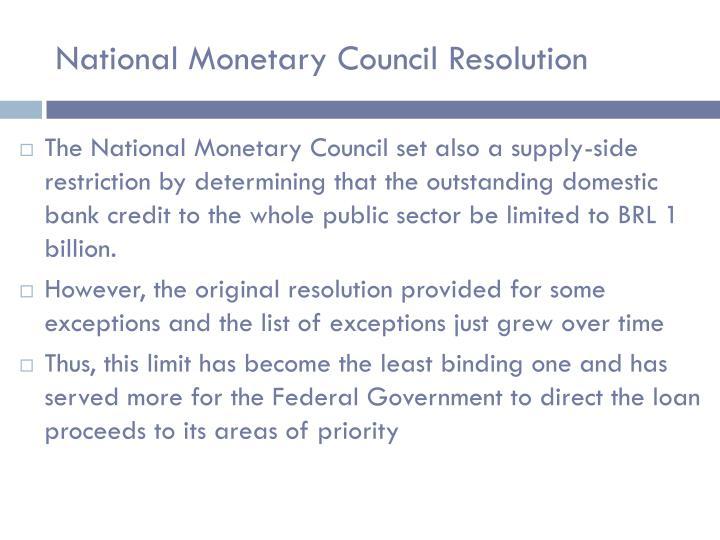 National Monetary Council Resolution