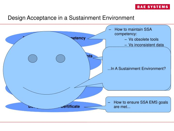 Design Acceptance in a Sustainment Environment