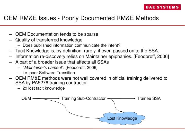 OEM RM&E Issues - Poorly Documented RM&E Methods