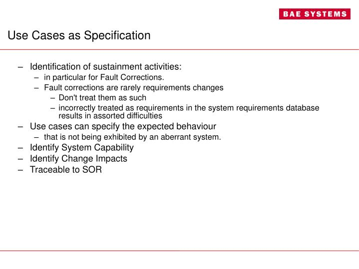 Use Cases as Specification