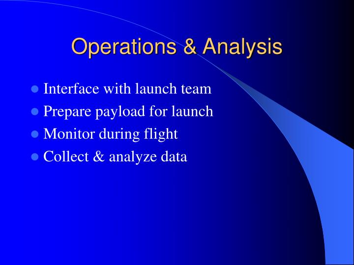 Operations & Analysis