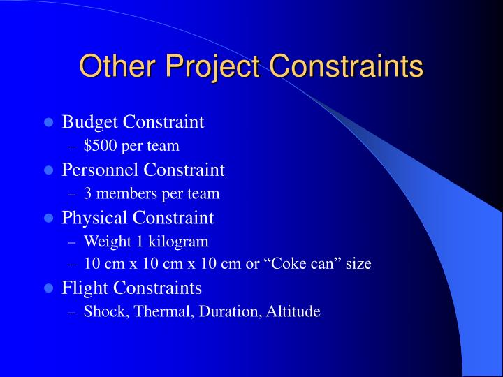 Other Project Constraints