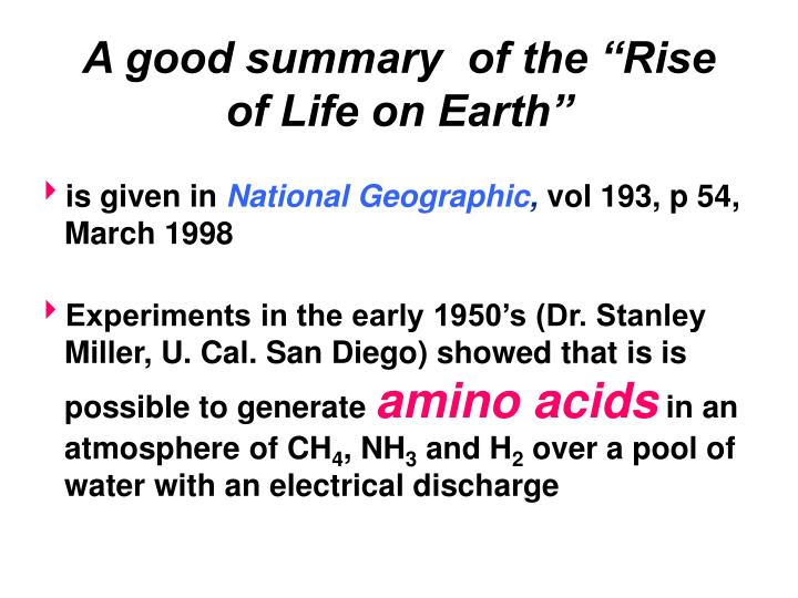 """A good summary  of the """"Rise of Life on Earth"""""""