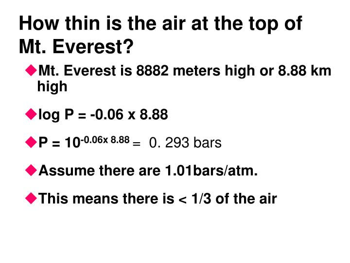How thin is the air at the top of Mt. Everest?