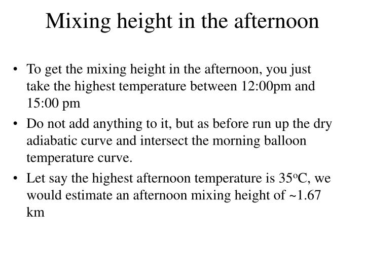 Mixing height in the afternoon