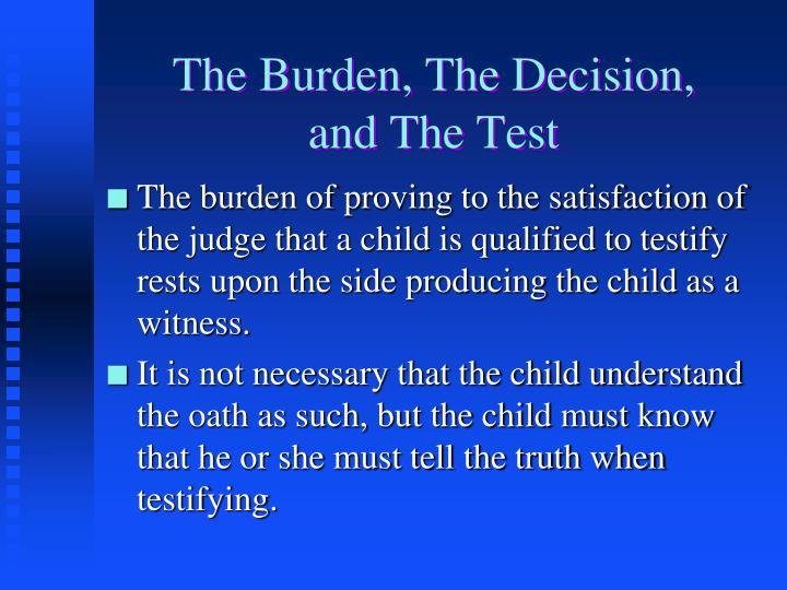 The Burden, The Decision,