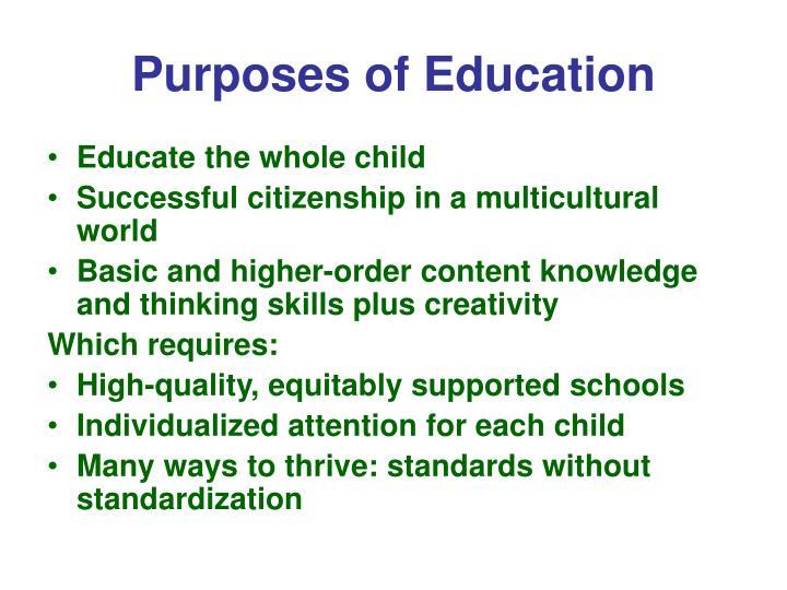 Purposes of education