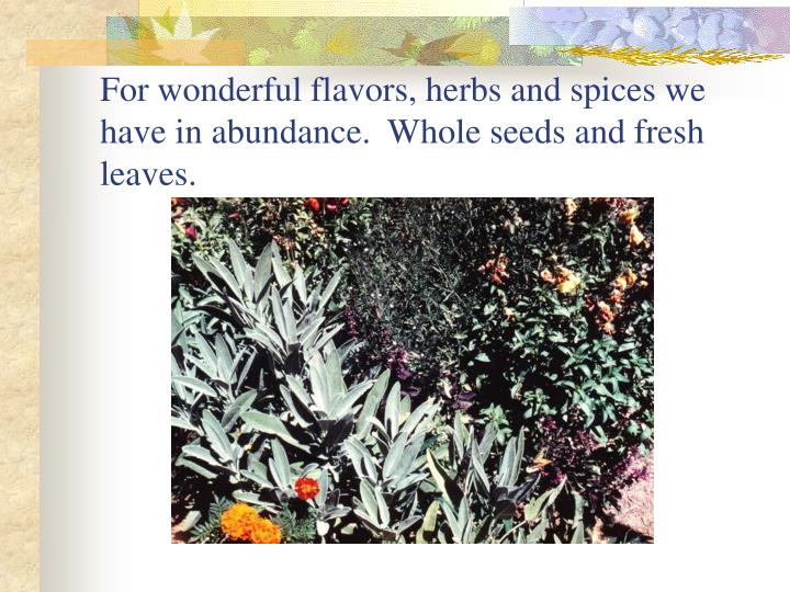 For wonderful flavors, herbs and spices we have in abundance.  Whole seeds and fresh leaves.
