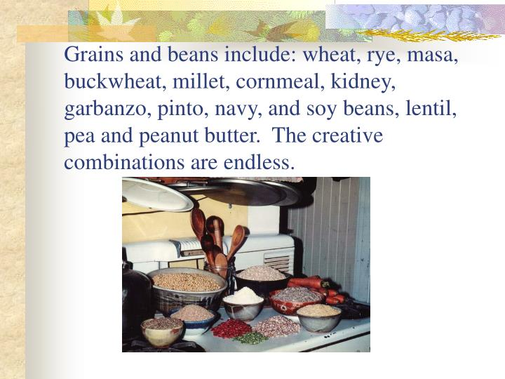 Grains and beans include: wheat, rye, masa, buckwheat, millet, cornmeal, kidney, garbanzo, pinto, navy, and soy beans, lentil, pea and peanut butter.  The creative combinations are endless.